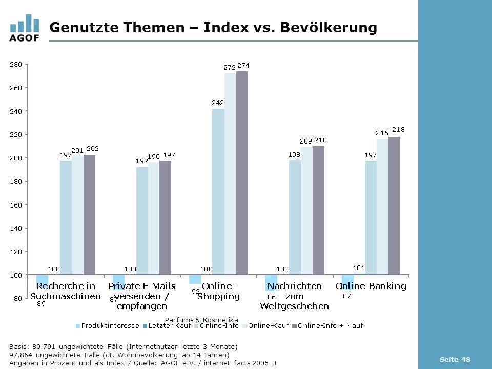 Seite 48 Genutzte Themen – Index vs.