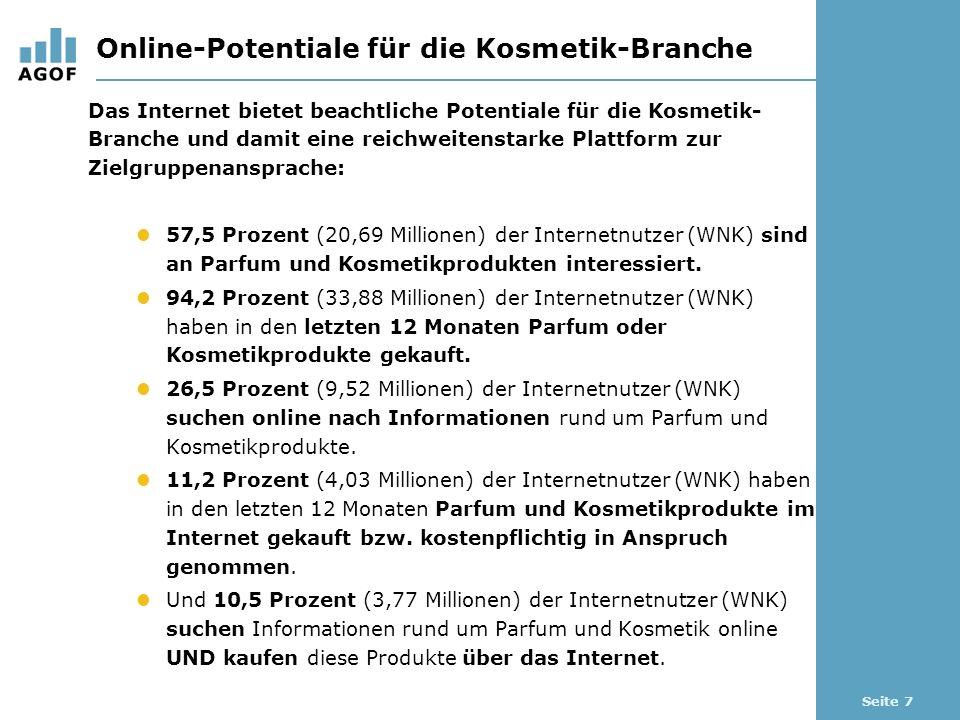Seite 7 Online-Potentiale für die Kosmetik-Branche Das Internet bietet beachtliche Potentiale für die Kosmetik- Branche und damit eine reichweitenstarke Plattform zur Zielgruppenansprache: 57,5 Prozent (20,69 Millionen) der Internetnutzer (WNK) sind an Parfum und Kosmetikprodukten interessiert.