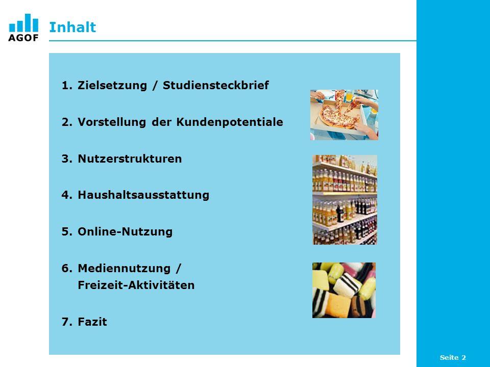 Seite 2 Inhalt 1.Zielsetzung / Studiensteckbrief 2.Vorstellung der Kundenpotentiale 3.Nutzerstrukturen 4.Haushaltsausstattung 5.Online-Nutzung 6.Mediennutzung / Freizeit-Aktivitäten 7.Fazit