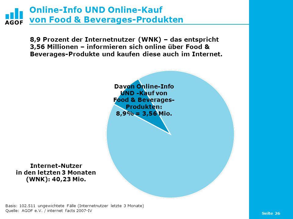 Seite 26 Online-Info UND Online-Kauf von Food & Beverages-Produkten Internet-Nutzer in den letzten 3 Monaten (WNK): 40,23 Mio.