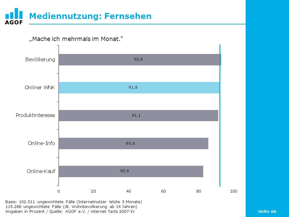 Seite 66 Mediennutzung: Fernsehen Basis: 102.511 ungewichtete Fälle (Internetnutzer letzte 3 Monate) 115.288 ungewichtete Fälle (dt.