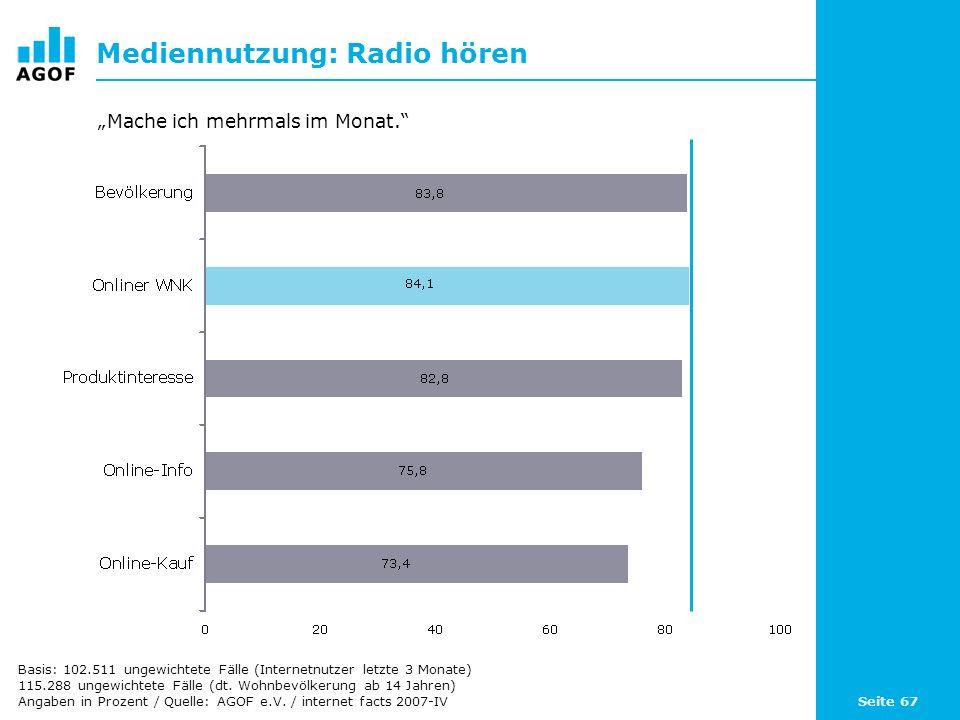 Seite 67 Mediennutzung: Radio hören Basis: 102.511 ungewichtete Fälle (Internetnutzer letzte 3 Monate) 115.288 ungewichtete Fälle (dt.
