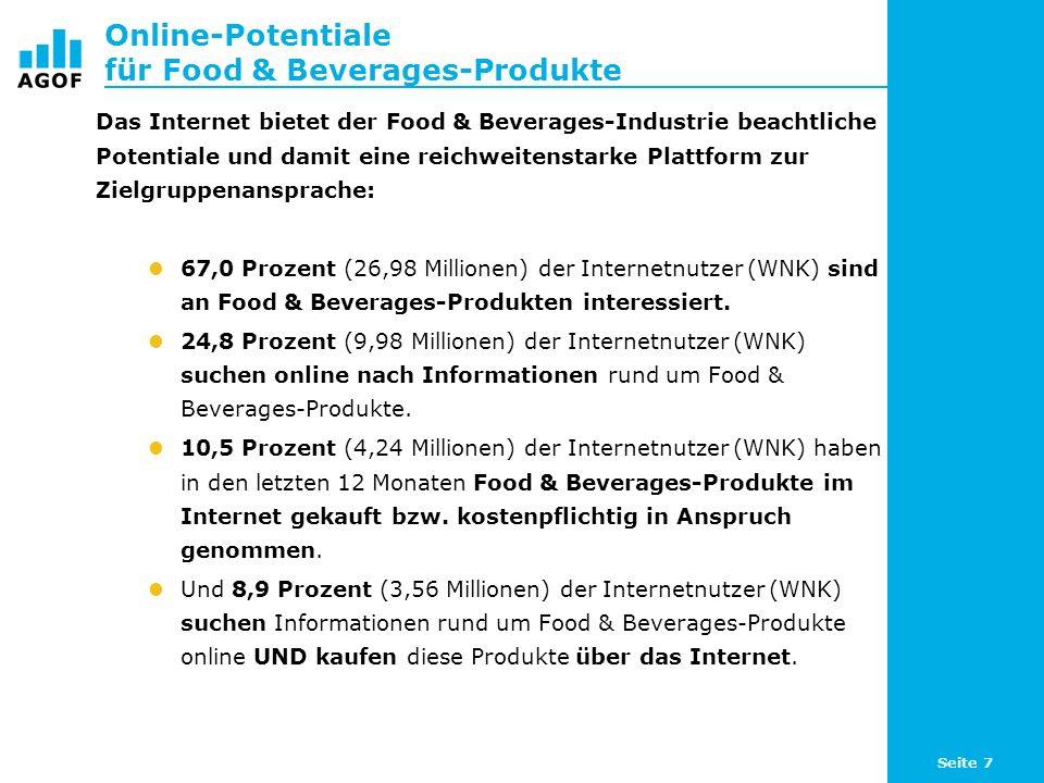 Seite 7 Online-Potentiale für Food & Beverages-Produkte Das Internet bietet der Food & Beverages-Industrie beachtliche Potentiale und damit eine reichweitenstarke Plattform zur Zielgruppenansprache: 67,0 Prozent (26,98 Millionen) der Internetnutzer (WNK) sind an Food & Beverages-Produkten interessiert.
