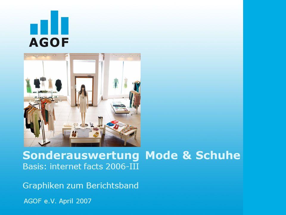 Sonderauswertung Mode & Schuhe Basis: internet facts 2006-III Graphiken zum Berichtsband AGOF e.V. April 2007