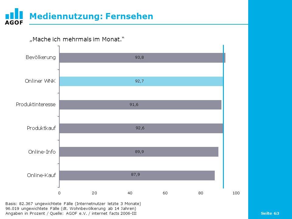 Seite 63 Mediennutzung: Fernsehen Basis: 82.367 ungewichtete Fälle (Internetnutzer letzte 3 Monate) 96.019 ungewichtete Fälle (dt. Wohnbevölkerung ab