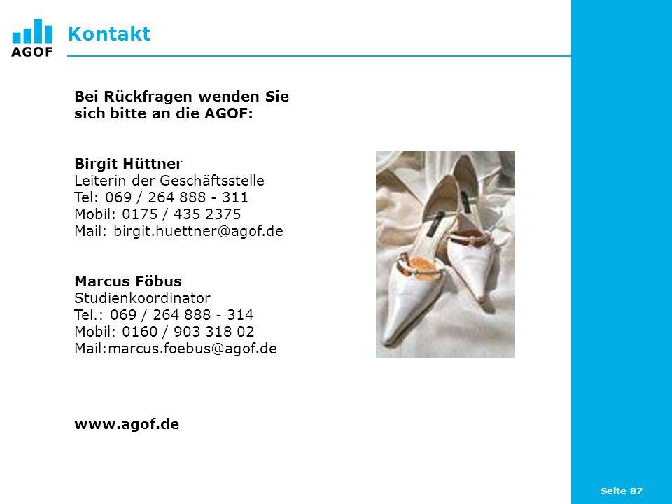 Seite 87 Kontakt Bei Rückfragen wenden Sie sich bitte an die AGOF: Birgit Hüttner Leiterin der Geschäftsstelle Tel: 069 / 264 888 - 311 Mobil: 0175 /