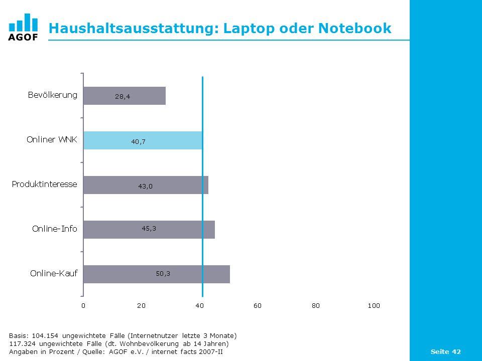 Seite 42 Haushaltsausstattung: Laptop oder Notebook Basis: 104.154 ungewichtete Fälle (Internetnutzer letzte 3 Monate) 117.324 ungewichtete Fälle (dt.