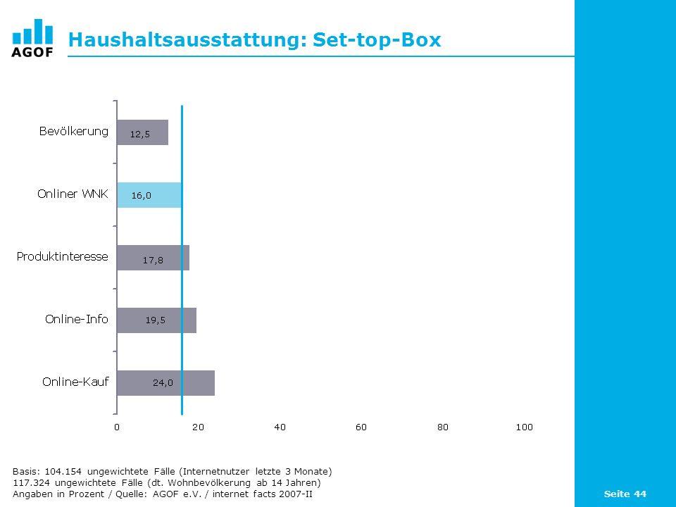 Seite 44 Haushaltsausstattung: Set-top-Box Basis: 104.154 ungewichtete Fälle (Internetnutzer letzte 3 Monate) 117.324 ungewichtete Fälle (dt. Wohnbevö