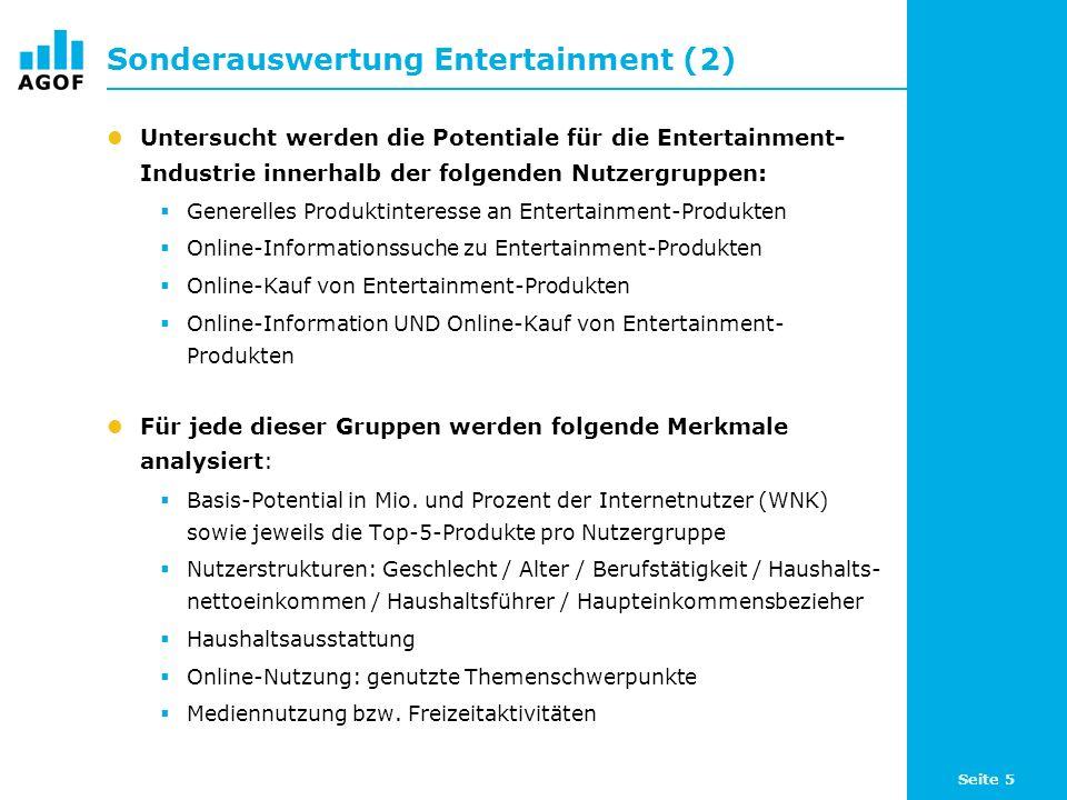 Seite 5 Sonderauswertung Entertainment (2) Untersucht werden die Potentiale für die Entertainment- Industrie innerhalb der folgenden Nutzergruppen: Generelles Produktinteresse an Entertainment-Produkten Online-Informationssuche zu Entertainment-Produkten Online-Kauf von Entertainment-Produkten Online-Information UND Online-Kauf von Entertainment- Produkten Für jede dieser Gruppen werden folgende Merkmale analysiert: Basis-Potential in Mio.
