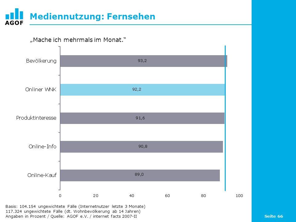 Seite 66 Mediennutzung: Fernsehen Basis: 104.154 ungewichtete Fälle (Internetnutzer letzte 3 Monate) 117.324 ungewichtete Fälle (dt. Wohnbevölkerung a