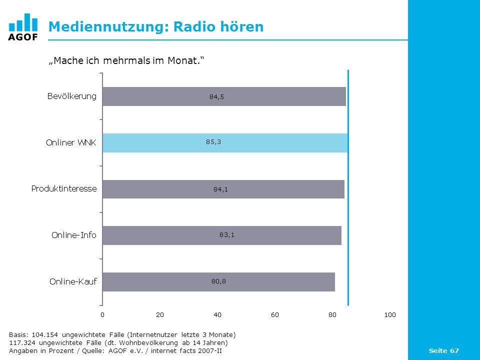 Seite 67 Mediennutzung: Radio hören Basis: 104.154 ungewichtete Fälle (Internetnutzer letzte 3 Monate) 117.324 ungewichtete Fälle (dt. Wohnbevölkerung