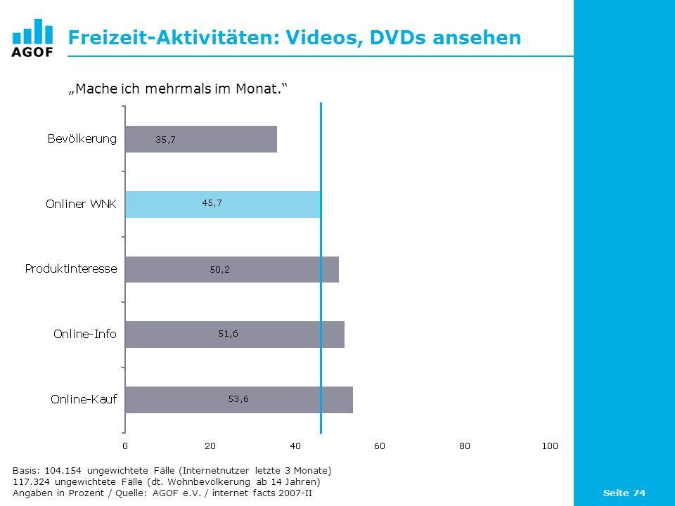Seite 74 Freizeit-Aktivitäten: Videos, DVDs ansehen Basis: 104.154 ungewichtete Fälle (Internetnutzer letzte 3 Monate) 117.324 ungewichtete Fälle (dt.