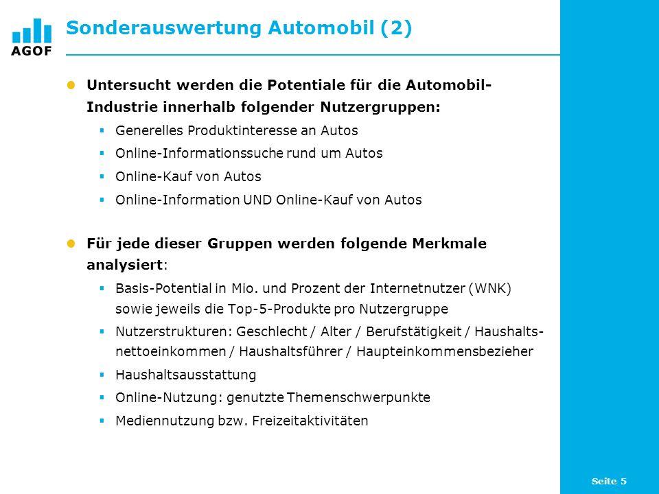 Seite 5 Sonderauswertung Automobil (2) Untersucht werden die Potentiale für die Automobil- Industrie innerhalb folgender Nutzergruppen: Generelles Produktinteresse an Autos Online-Informationssuche rund um Autos Online-Kauf von Autos Online-Information UND Online-Kauf von Autos Für jede dieser Gruppen werden folgende Merkmale analysiert: Basis-Potential in Mio.