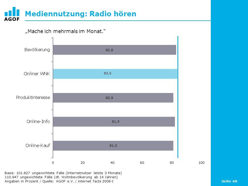 Seite 68 Mediennutzung: Radio hören Basis: 101.827 ungewichtete Fälle (Internetnutzer letzte 3 Monate) 110.947 ungewichtete Fälle (dt.