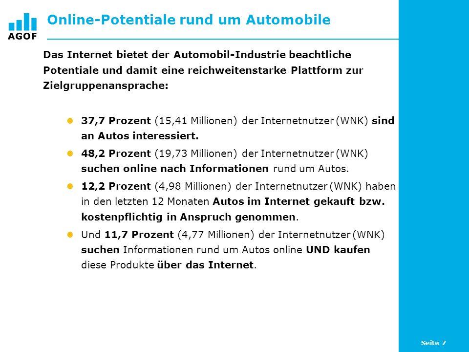 Seite 8 Online-Potentiale – Produktinteresse an Autos Basis: 101.827 ungewichtete Fälle (Internetnutzer letzte 3 Monate) An welchen der folgenden Produkte sind Sie (sehr) interessiert.