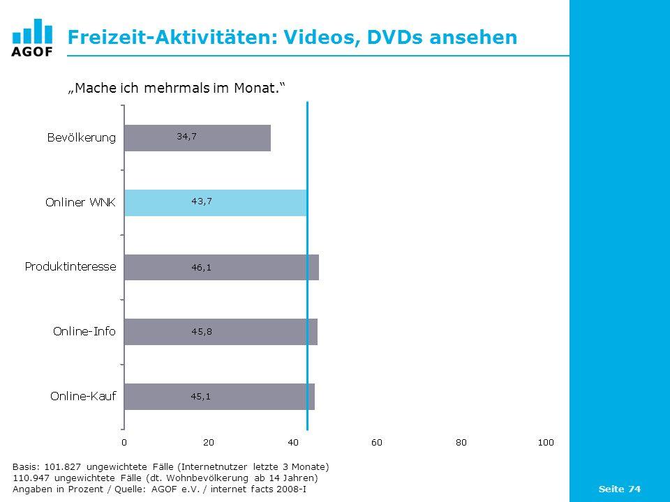 Seite 74 Freizeit-Aktivitäten: Videos, DVDs ansehen Basis: 101.827 ungewichtete Fälle (Internetnutzer letzte 3 Monate) 110.947 ungewichtete Fälle (dt.