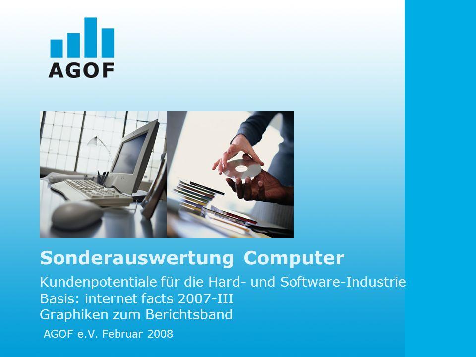 Sonderauswertung Computer Kundenpotentiale für die Hard- und Software-Industrie Basis: internet facts 2007-III Graphiken zum Berichtsband AGOF e.V. Fe