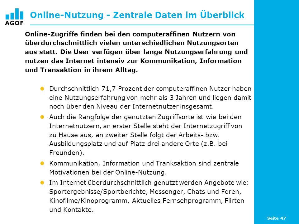 Seite 47 Online-Nutzung - Zentrale Daten im Überblick Online-Zugriffe finden bei den computeraffinen Nutzern von überdurchschnittlich vielen unterschi