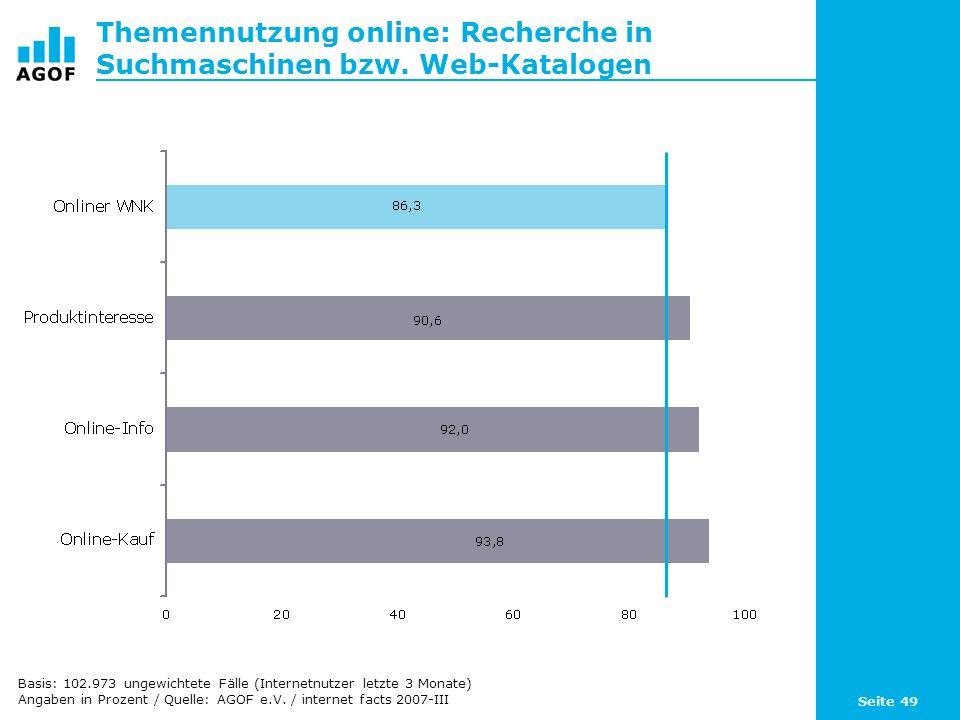 Seite 49 Themennutzung online: Recherche in Suchmaschinen bzw. Web-Katalogen Basis: 102.973 ungewichtete Fälle (Internetnutzer letzte 3 Monate) Angabe