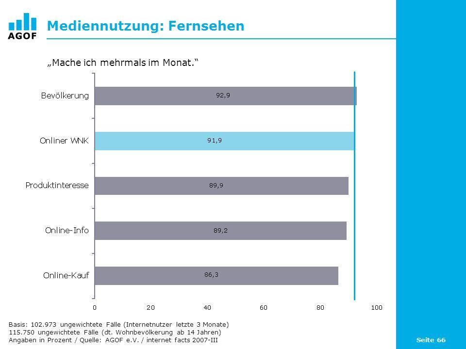 Seite 66 Mediennutzung: Fernsehen Basis: 102.973 ungewichtete Fälle (Internetnutzer letzte 3 Monate) 115.750 ungewichtete Fälle (dt. Wohnbevölkerung a