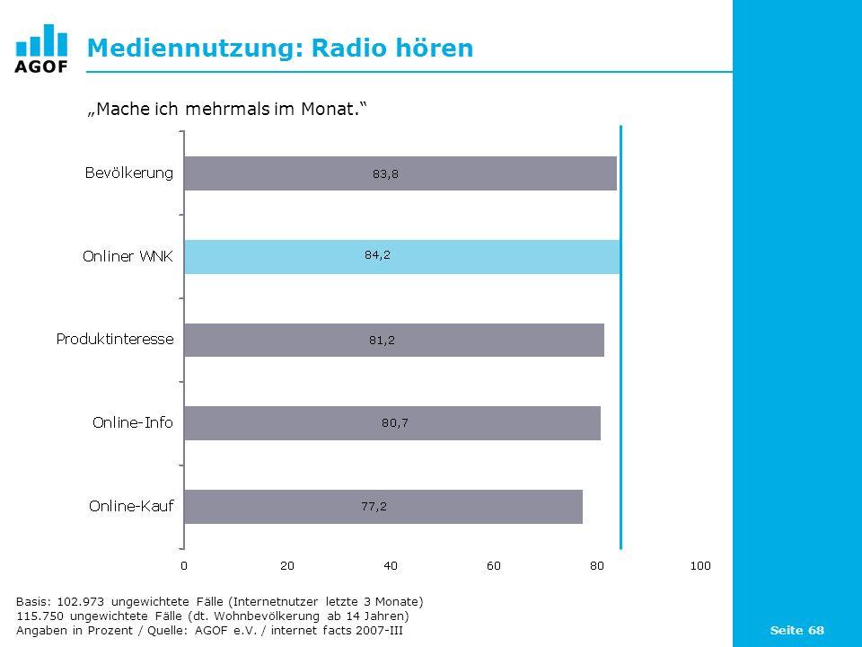 Seite 68 Mediennutzung: Radio hören Basis: 102.973 ungewichtete Fälle (Internetnutzer letzte 3 Monate) 115.750 ungewichtete Fälle (dt. Wohnbevölkerung
