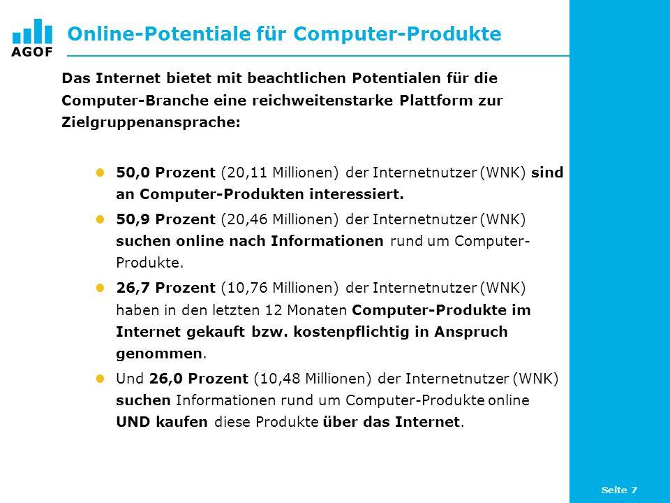 Seite 7 Online-Potentiale für Computer-Produkte Das Internet bietet mit beachtlichen Potentialen für die Computer-Branche eine reichweitenstarke Platt