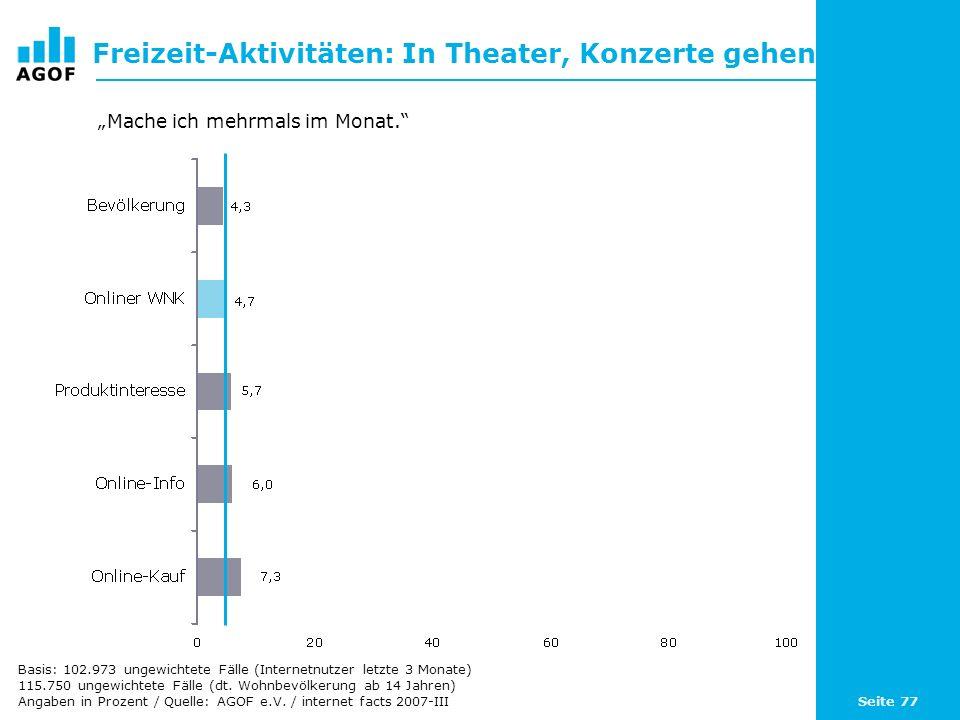 Seite 77 Freizeit-Aktivitäten: In Theater, Konzerte gehen Basis: 102.973 ungewichtete Fälle (Internetnutzer letzte 3 Monate) 115.750 ungewichtete Fäll