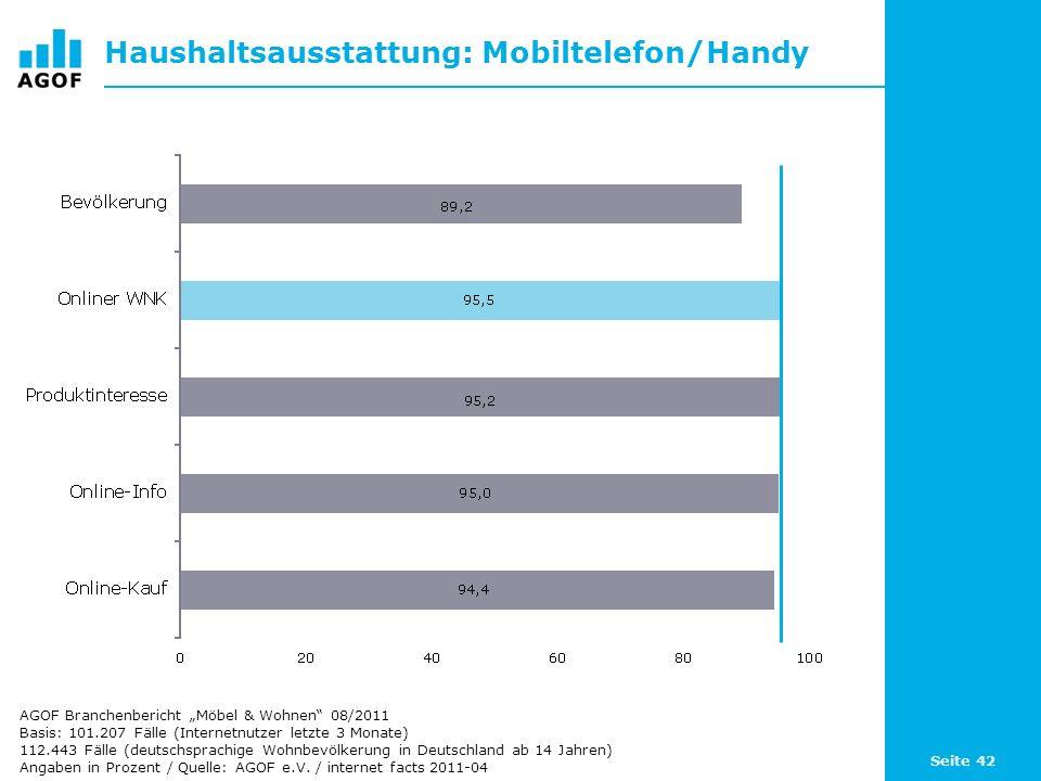 Seite 42 Haushaltsausstattung: Mobiltelefon/Handy Basis: 101.207 Fälle (Internetnutzer letzte 3 Monate) 112.443 Fälle (deutschsprachige Wohnbevölkerun