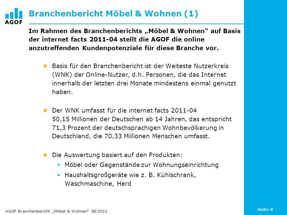 Seite 8 Branchenbericht Möbel & Wohnen (1) Im Rahmen des Branchenberichts Möbel & Wohnen auf Basis der internet facts 2011-04 stellt die AGOF die onli