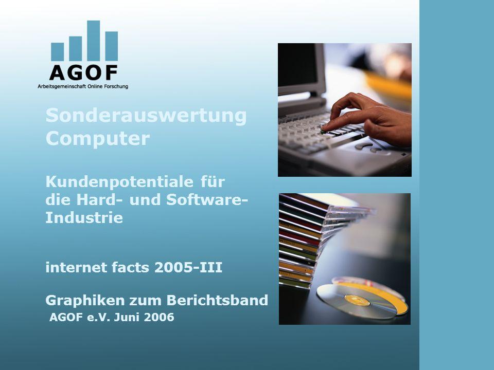 Sonderauswertung Computer Kundenpotentiale für die Hard- und Software- Industrie internet facts 2005-III Graphiken zum Berichtsband AGOF e.V.