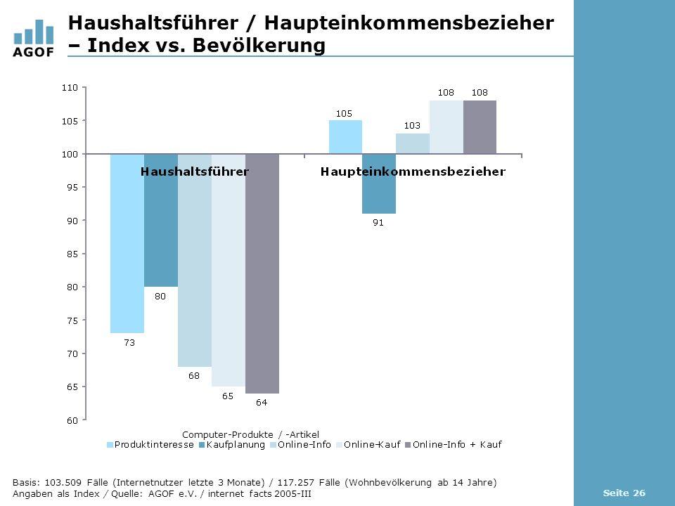 Seite 26 Haushaltsführer / Haupteinkommensbezieher – Index vs.