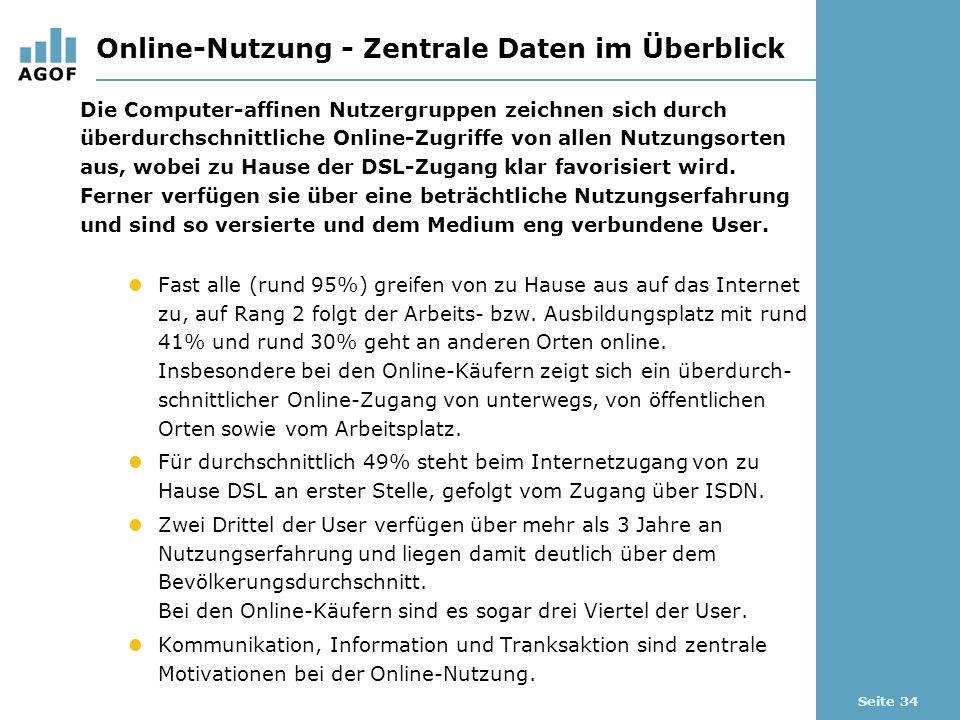 Seite 34 Online-Nutzung - Zentrale Daten im Überblick Die Computer-affinen Nutzergruppen zeichnen sich durch überdurchschnittliche Online-Zugriffe von allen Nutzungsorten aus, wobei zu Hause der DSL-Zugang klar favorisiert wird.
