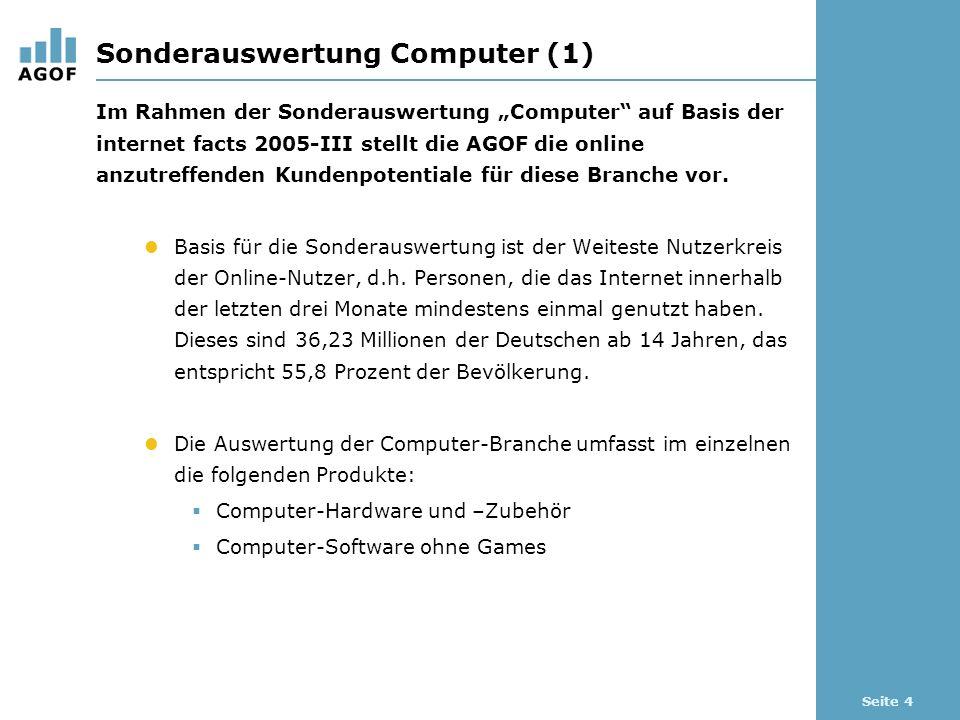Seite 4 Sonderauswertung Computer (1) Im Rahmen der Sonderauswertung Computer auf Basis der internet facts 2005-III stellt die AGOF die online anzutreffenden Kundenpotentiale für diese Branche vor.