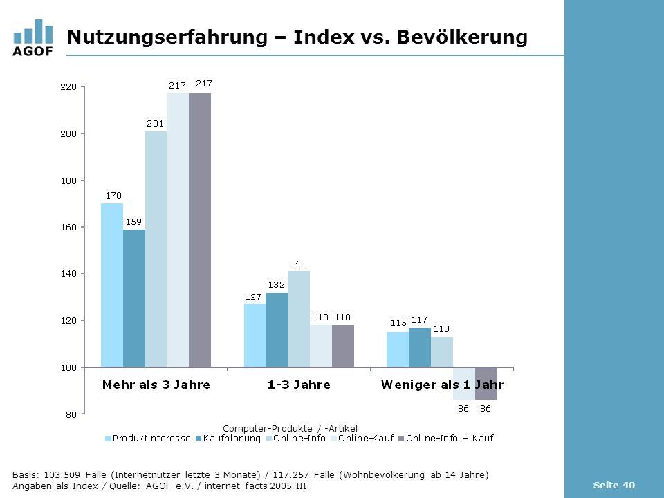 Seite 40 Nutzungserfahrung – Index vs.