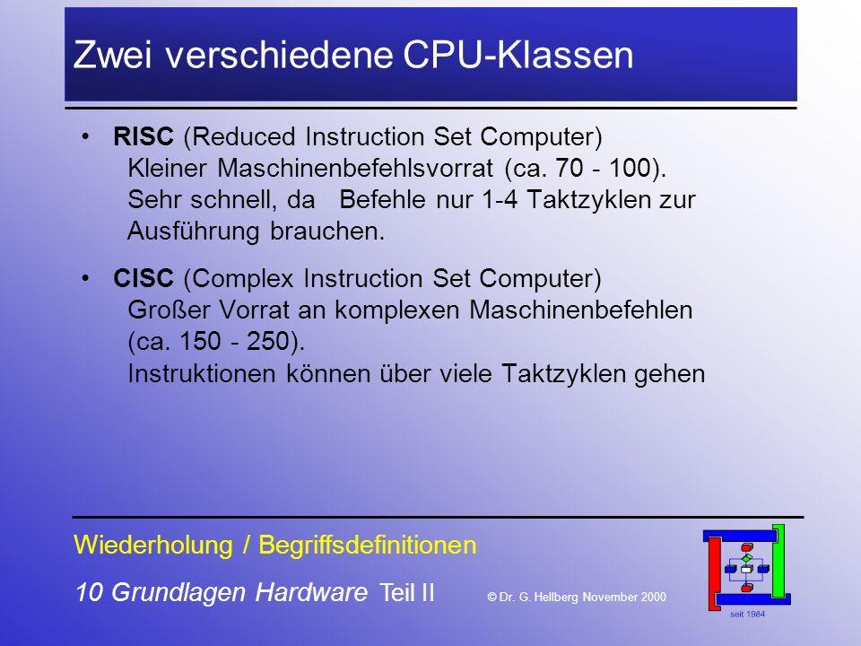 10 Grundlagen Hardware Teil II © Dr.G.