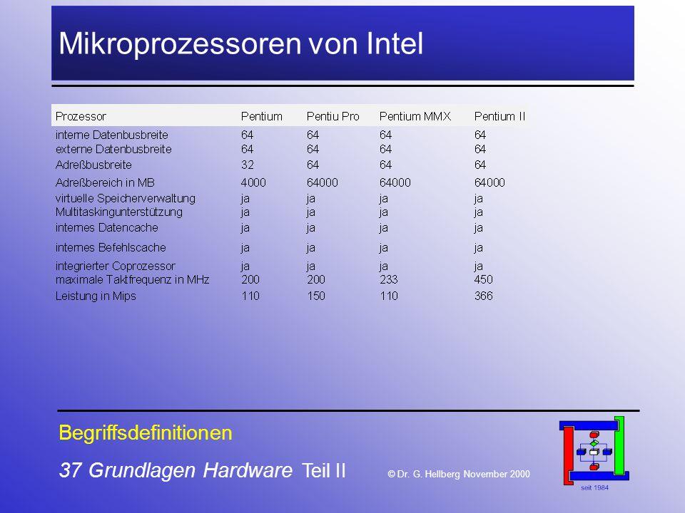 37 Grundlagen Hardware Teil II © Dr.G.
