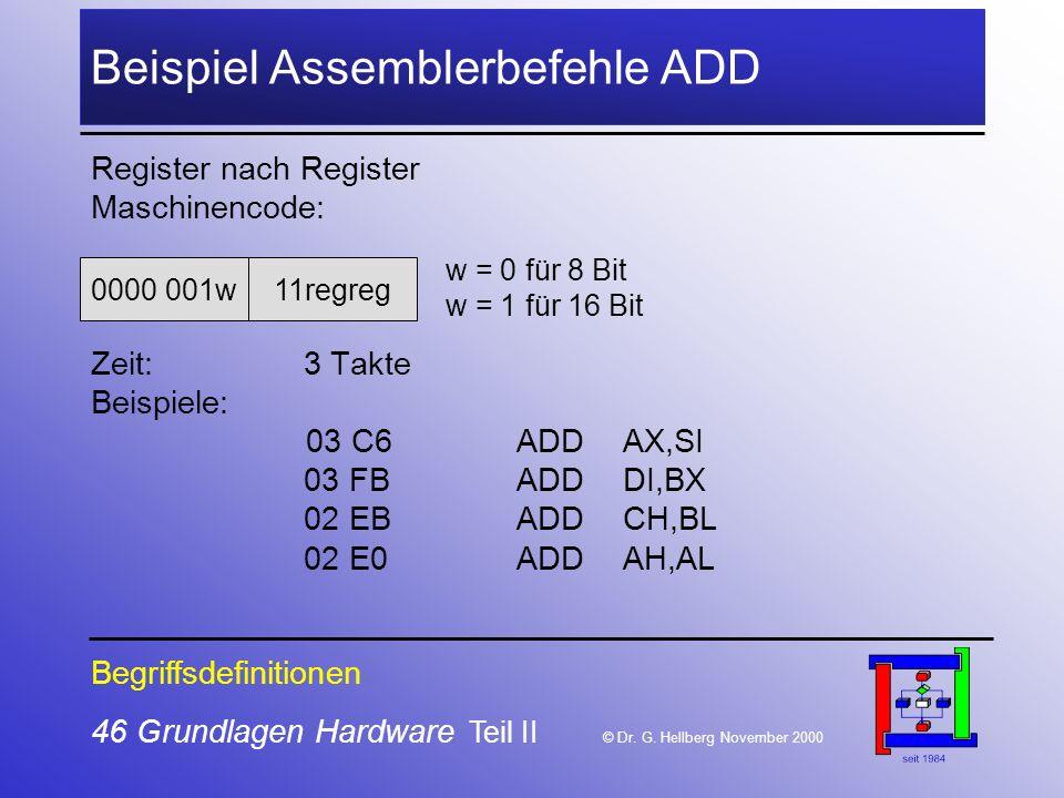 46 Grundlagen Hardware Teil II © Dr.G.