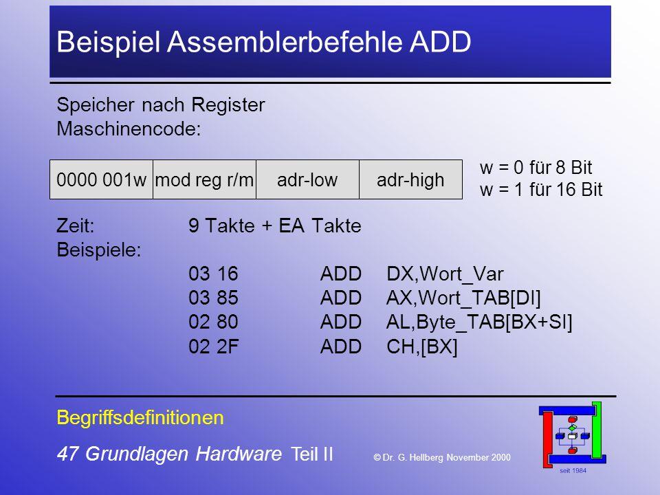 47 Grundlagen Hardware Teil II © Dr.G.