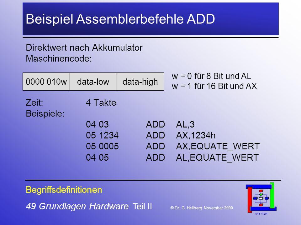 49 Grundlagen Hardware Teil II © Dr.G.