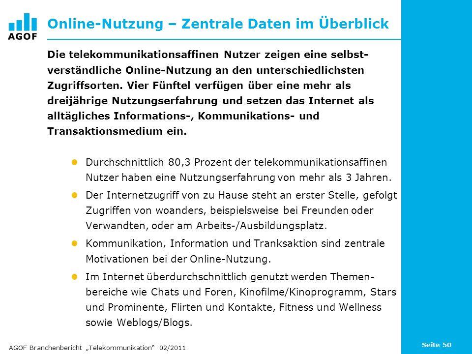Seite 50 Online-Nutzung – Zentrale Daten im Überblick Die telekommunikationsaffinen Nutzer zeigen eine selbst- verständliche Online-Nutzung an den unt