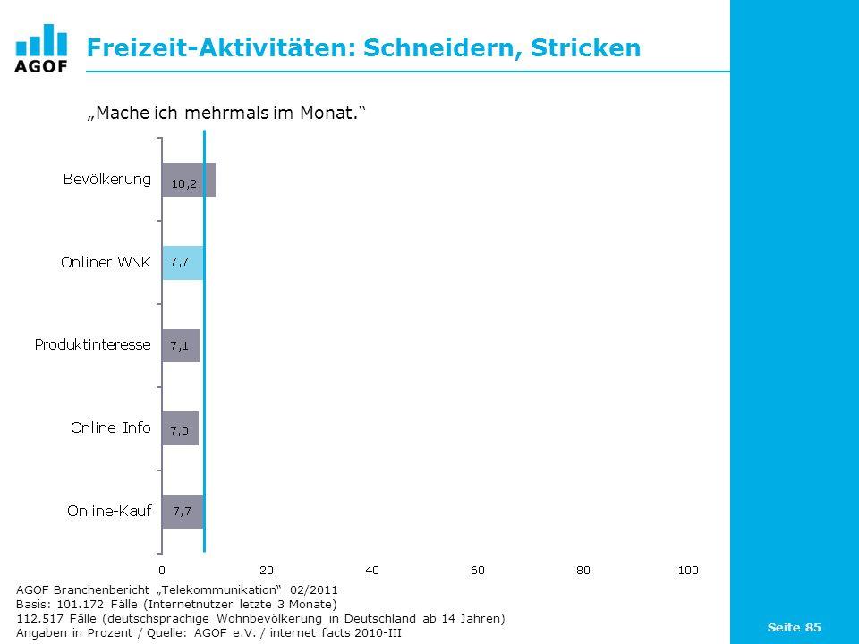 Seite 85 Freizeit-Aktivitäten: Schneidern, Stricken Basis: 101.172 Fälle (Internetnutzer letzte 3 Monate) 112.517 Fälle (deutschsprachige Wohnbevölker