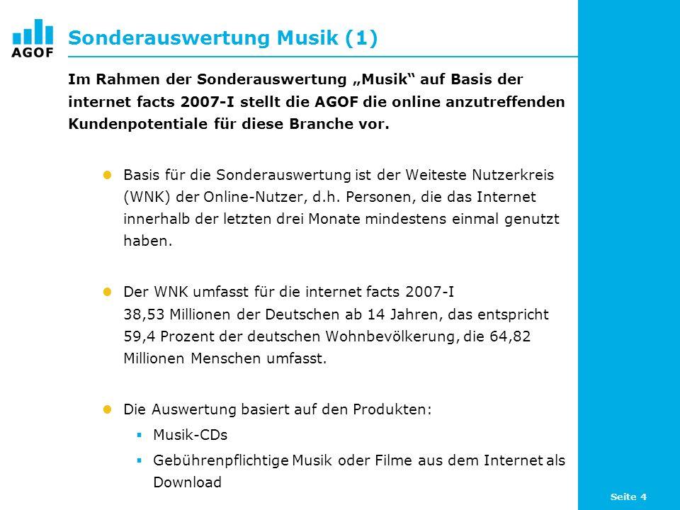 Seite 4 Sonderauswertung Musik (1) Im Rahmen der Sonderauswertung Musik auf Basis der internet facts 2007-I stellt die AGOF die online anzutreffenden Kundenpotentiale für diese Branche vor.