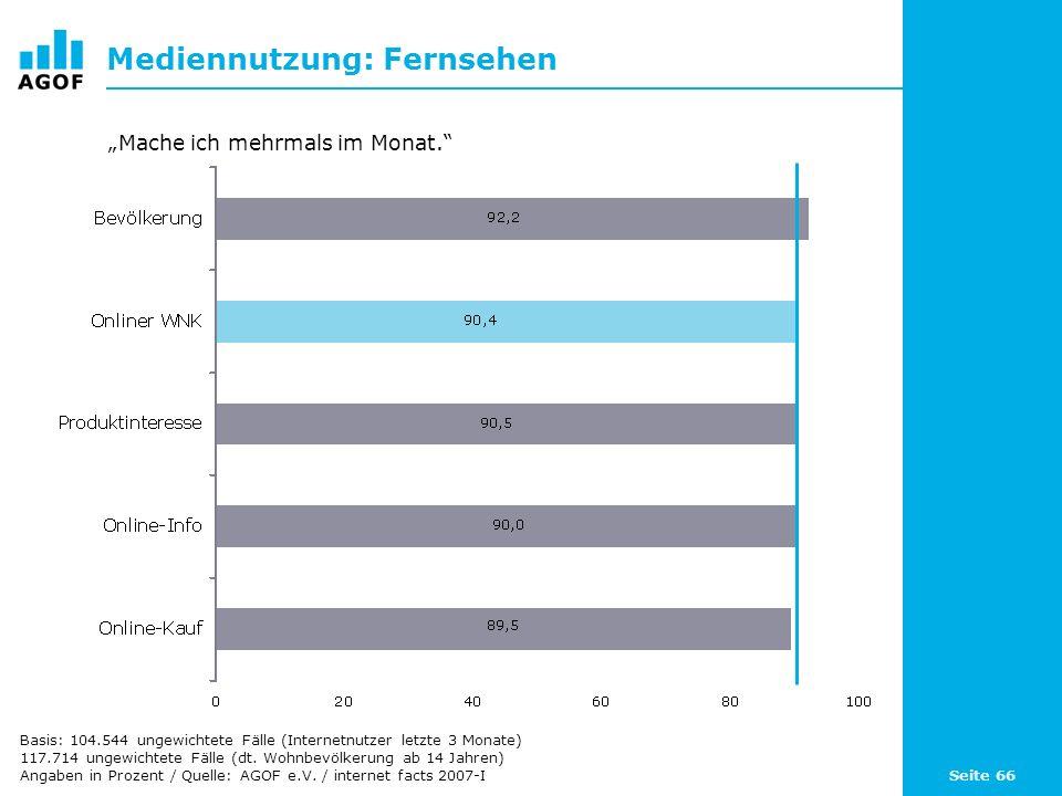 Seite 66 Mediennutzung: Fernsehen Basis: 104.544 ungewichtete Fälle (Internetnutzer letzte 3 Monate) 117.714 ungewichtete Fälle (dt.