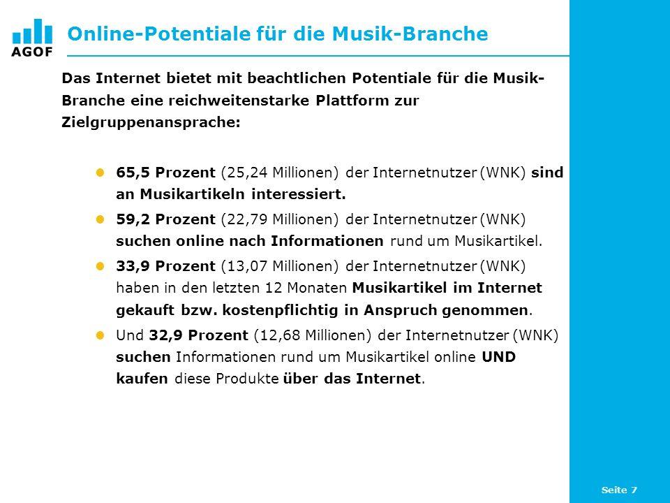 Seite 7 Online-Potentiale für die Musik-Branche Das Internet bietet mit beachtlichen Potentiale für die Musik- Branche eine reichweitenstarke Plattform zur Zielgruppenansprache: 65,5 Prozent (25,24 Millionen) der Internetnutzer (WNK) sind an Musikartikeln interessiert.