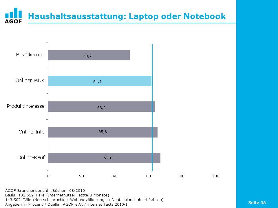 Seite 38 Haushaltsausstattung: Laptop oder Notebook Basis: 101.652 Fälle (Internetnutzer letzte 3 Monate) 113.507 Fälle (deutschsprachige Wohnbevölker