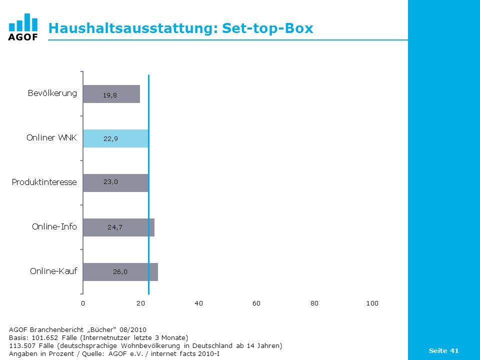 Seite 41 Haushaltsausstattung: Set-top-Box Basis: 101.652 Fälle (Internetnutzer letzte 3 Monate) 113.507 Fälle (deutschsprachige Wohnbevölkerung in De
