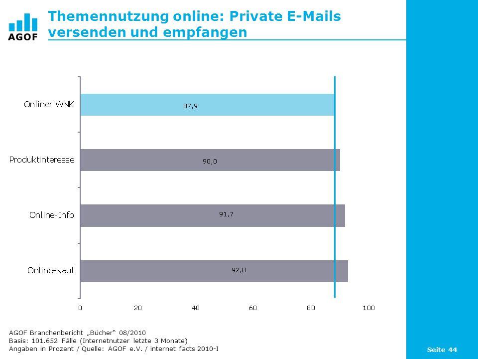 Seite 44 Themennutzung online: Private E-Mails versenden und empfangen Basis: 101.652 Fälle (Internetnutzer letzte 3 Monate) Angaben in Prozent / Quel