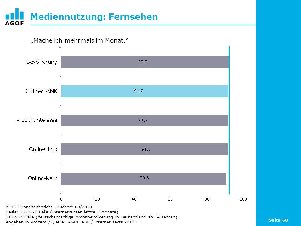 Seite 68 Mediennutzung: Fernsehen Basis: 101.652 Fälle (Internetnutzer letzte 3 Monate) 113.507 Fälle (deutschsprachige Wohnbevölkerung in Deutschland