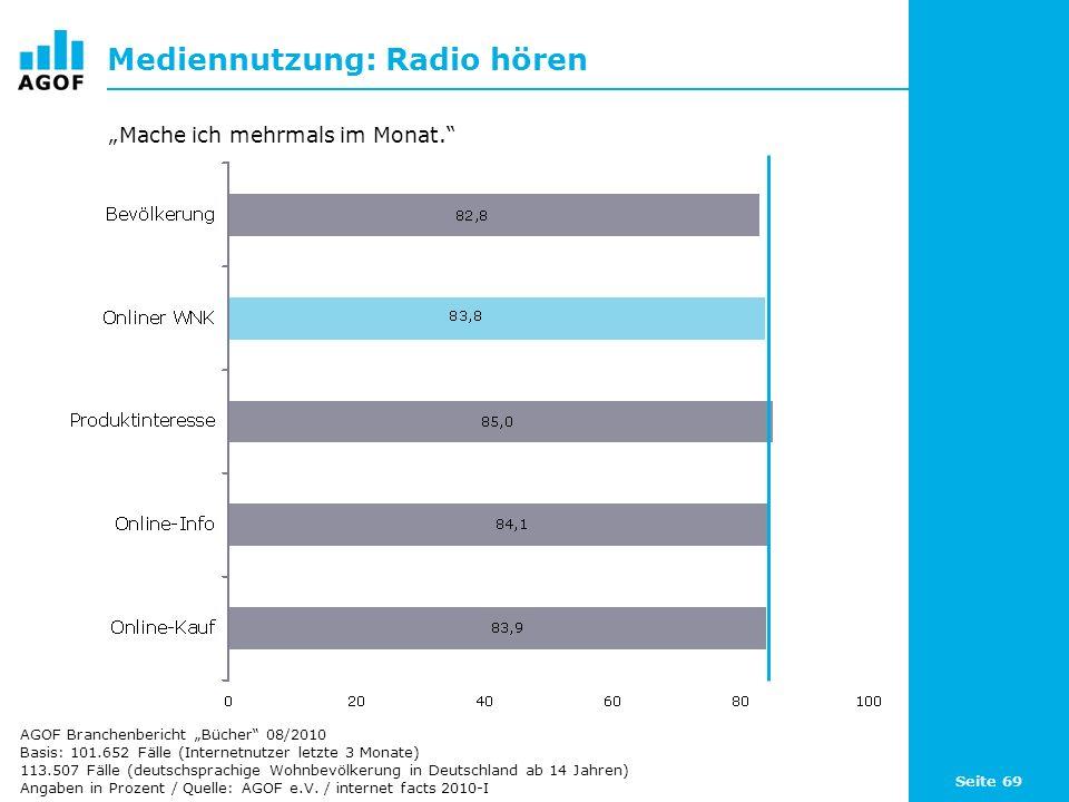 Seite 69 Mediennutzung: Radio hören Basis: 101.652 Fälle (Internetnutzer letzte 3 Monate) 113.507 Fälle (deutschsprachige Wohnbevölkerung in Deutschla
