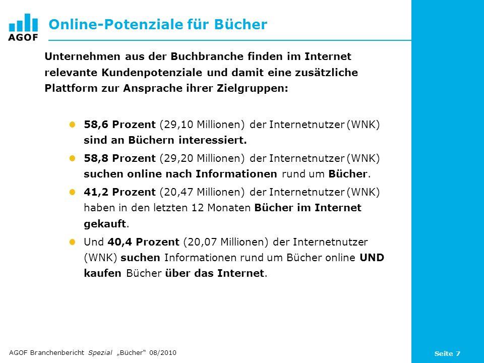 Seite 7 Online-Potenziale für Bücher Unternehmen aus der Buchbranche finden im Internet relevante Kundenpotenziale und damit eine zusätzliche Plattfor
